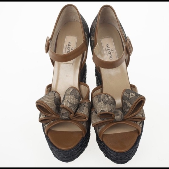 9bf77dc01aa Valentino Bow Lace Platform Espadrille Wedges NWT